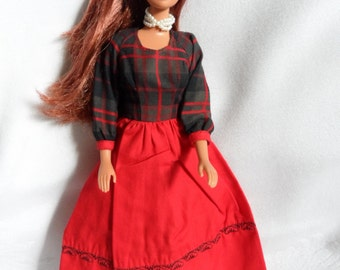 Vintage Barbie Clothes, Red Plaid Barbie Dress, Barbie Doll Christmas Clothes, Handmade Barbie Clothing, 1960s Mommy Made Barbie Dress