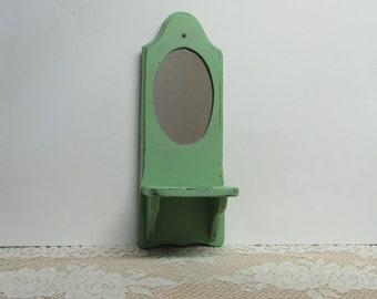 Country Green Shabby Cottage Candle Holder with Mirror ~ Farmhouse Wall Décor ~ Sconce Jar Candle Holder ~ Beach Cottage