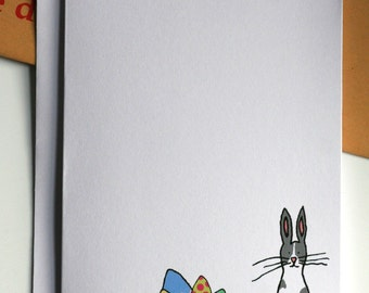 Easter Bunny and Easter Egg Illustration A6 Card