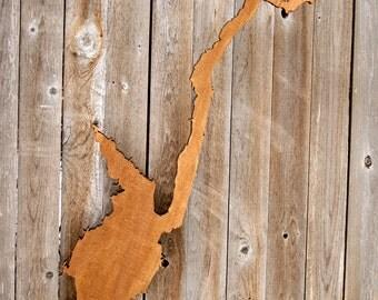 Great Sacandaga Lake Stained Wall Silhouette - Dark Honey
