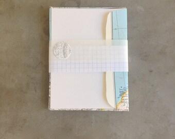Map Envelope Card Set: Stationery Set blank card set vintage map handmade envelopes