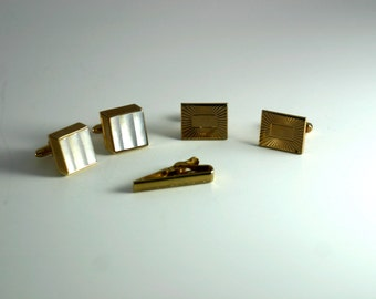 Swank Goldtone Mother of Pearl Cufflink and Tie Clip Set
