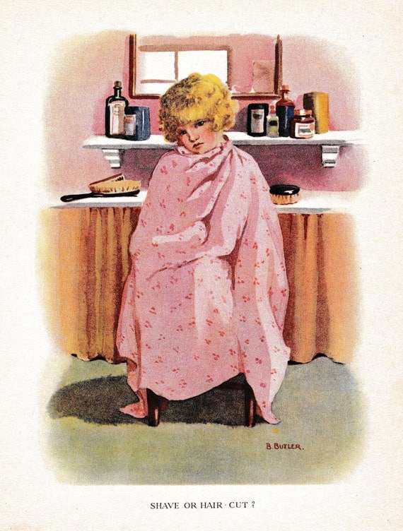 Antique children's print, book ilustration, young girl having hair cut in barber shop, matted for framing, 8 x 10 inches, 1920s