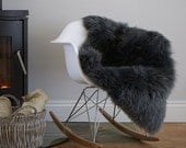 British Sheepskin !  Our Stunning Slate Grey Gray Luxury sheepskin Rug supersoft Pelt Hide Genine Natural Eco product