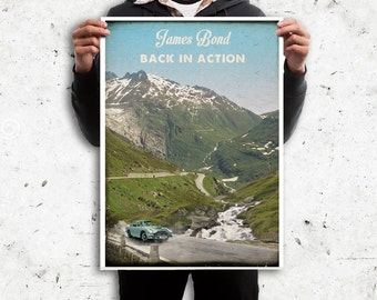 James Bond Goldfinger retro travel poster movie. Landscape Swiss Alps. Available in different sizes