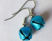 Jingle Bell Dangle Earrings Blue Bell Earrings Glittering White Bells