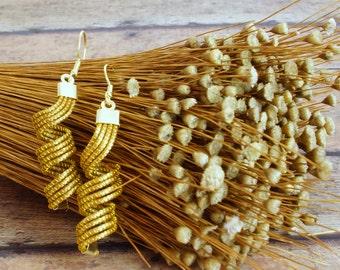 Golden Grass Earrings, Brazilian Straw, Spiral Earrings, Twist Earrings, Swirl Dangle Spirals, Organic Spiral Earrings