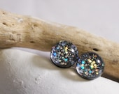 Black Glitter Stud / Post Earrings with glass cabochon. Painted with nail polish and holographic glitter with rainbow sparkle
