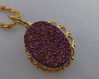 Druzy Quartz,Pink,Gold,Green, Color Shifting,Druzy Necklace, Popcorn Link Chain, Hand Crafted, One of a Kind, Gift Idea, Women, Teens.