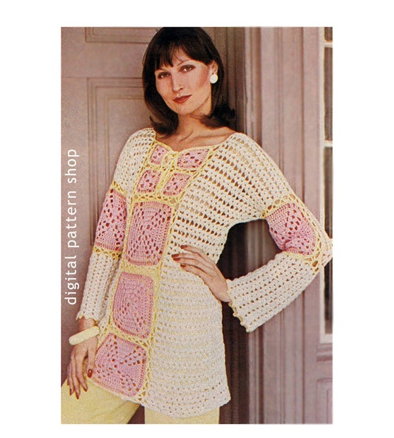 Crochet Pattern Granny Square Top Bell Sleeve Crochet Tunic Pattern Womens Lacy Granny Square Sweater PDF Instant Download Size 8 to 18 C114