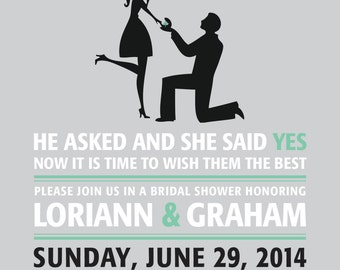 She Said Yes! Bridal Shower Invitations Printed and Shipped