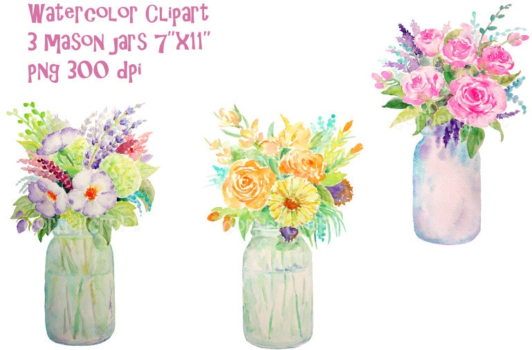 Hand Painted Watercolour Vase Of Flowers Mason Jars