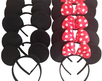 Minnie and Mickey Ears or Mix_10 counts_Polka Dot Red Bow Minnie Ears, Mickey Ears or Mix _for Picture, Dress up, Theme Party