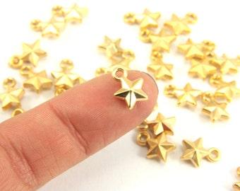 15 pcs Mini Gold Charm, Tiny Star Gold Charm, Matt Gold Charm, Mini Gold Charm Jewelry Findings, 22k Small Gold Charm, Small Star Gold Charm