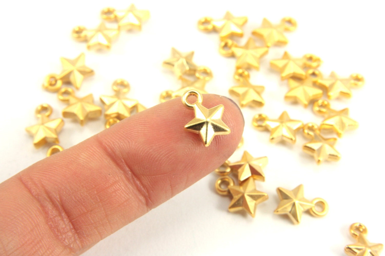 Pcs mini gold charm tiny star matt