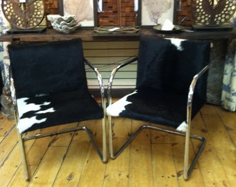 Mid Century Chairs Modern Leather Cowhide Chairs Pair Brn Modern Brno Mies  Van Der Rohe Metal