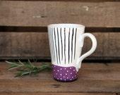 ceramic coffee mug, handpainted violet, stripes and dots