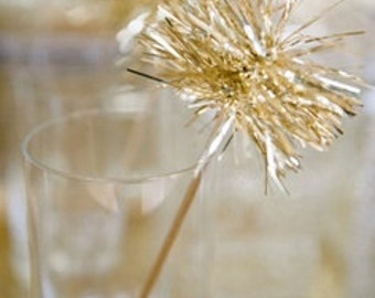 Gold or Silver Tinsel Drink Stirrers or Cake Toppers- set of 25