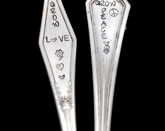 2 Stamped Silverware Garden Markers,  Spoon Plant Stake,  Grow Love Peace Hand Stamped Vintage Silverware Herb Marker Handle Hostess Gift