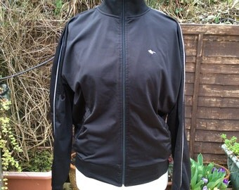 Vintage Gola M black zipped sports top with white piping