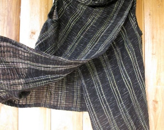Hand dyed cotton- Black-Geen Stripe-Asymmetric Tunic