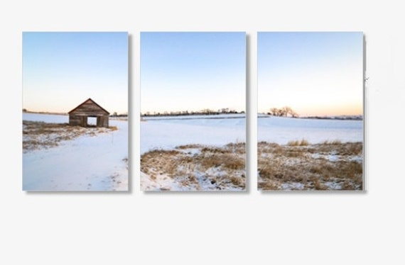 Oversized Art, Canvas Triptych, Iowa Photograph, Barn Landscape, Early Morning, Blue Sky, Split Panel Photo, Multi Panel, Large Wall Picture