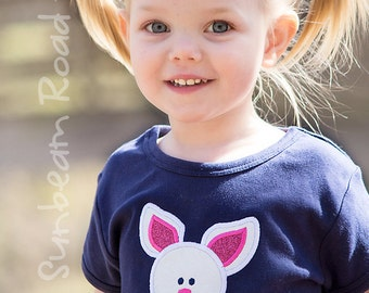 Girl's Easter Shirt with Easter Bunny and Embroidered Name