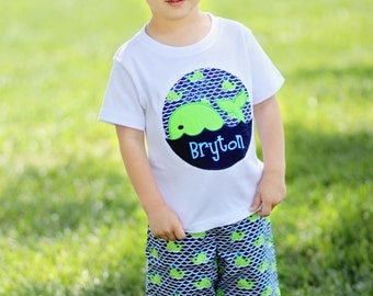Boy Whale Shirt with Embroidered Name