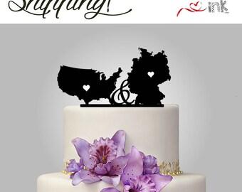 United States / Germany Cake Topper USA Destination Wedding Cake Topper State Cake Toppers
