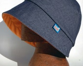 New 2 piece minimal denim cloche rain hat