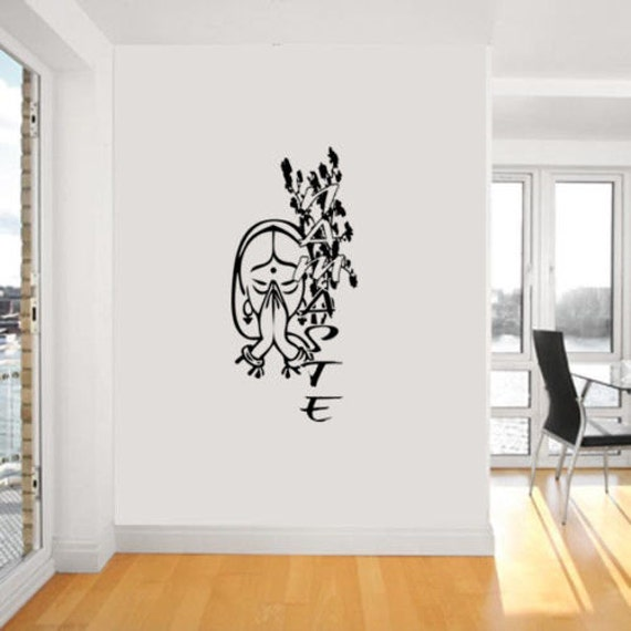 Namaste yoga d calque collant mural vinyle art sticker for Collant mural