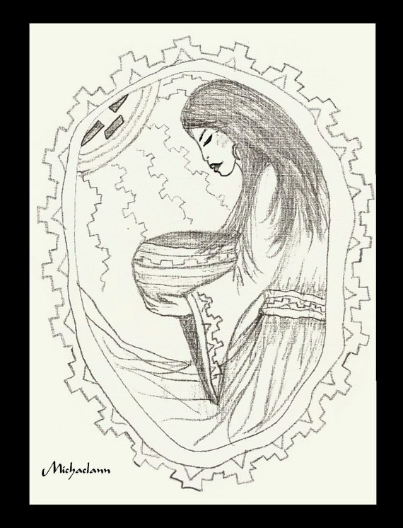 Coloring Page Adult Child Native American woman with bowl