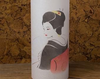 Geisha lamp - Geisha art - Geisha painting - Japanese geisha - Japanese lamp lantern geisha