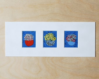 Simple Flower Pot Embroidery - Three Panel Textile Art - Small Decorative Artwork - Floral Textile Art