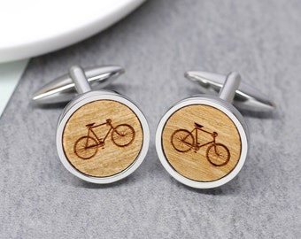 Bicycle Cufflinks, Bicycle Accessories, Gifts For Cyclists, Wooden Bike Cufflink, Bike Illustration Cufflinks, Sterling Silver, Cycling Gift