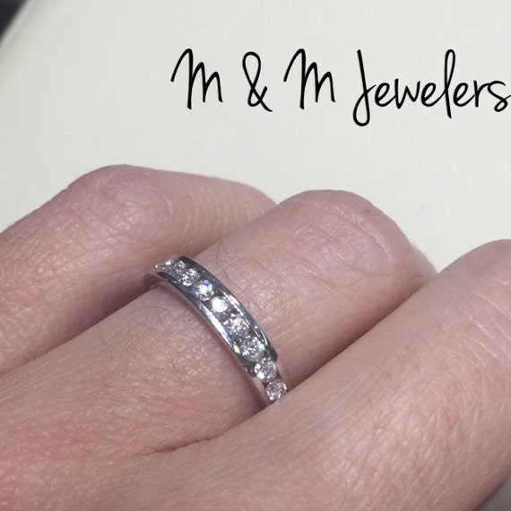 14K White Gold Channel Set Diamond Band