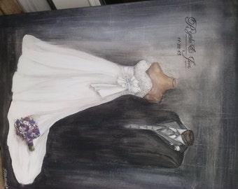 Beautiful Custom wedding gown paintings