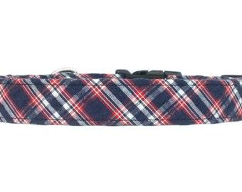 Dark Blue and Red Seersucker Plaid Dog Collar