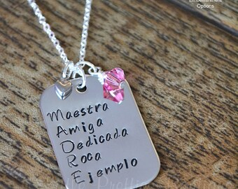 Personalized baby spoons baby shower gift baby gifts hand madre acronym necklace hand stamped spanish jewelry mothers necklace personalized mothers negle Images