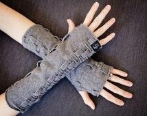Fingerless Gloves, Handmade Wrist Warmers, Adjustable Length Arm Warmers, Mitts, Weave Hand Warmers in Fleece by Grey Matter