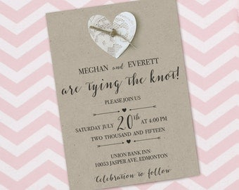 Tie the knot invitations etsy uk for The knot wedding invitation language