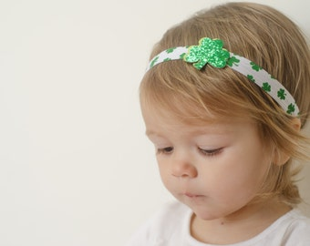 Green and White Elastic Headband with Lime + Glittery Green Shamrock Accent - Multiple Sizes - Great for St. Patrick's Day!