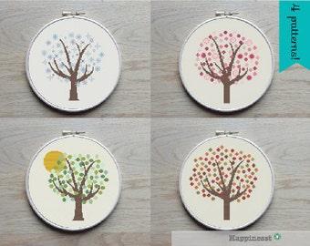 4 cross stitch patterns tree, 4 seasons, PDF pattern ** instant download**