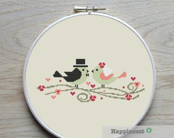 Wedding cross stitch pattern, Modern cross stitch pattern, wedding birds, PDF, DIY ** instant download**