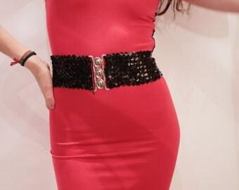 Black Sequins Belt