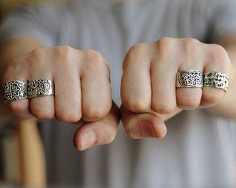 Kisin Ring- Mayan ring - Mayan god ring - Sterling Silver .925 - pirate ring - explorer's ring