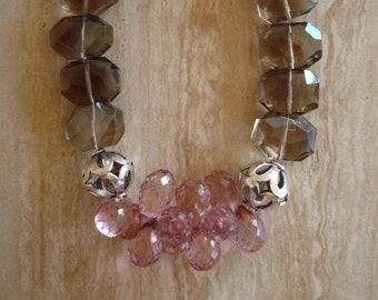 Smoky Quartz and Pink Mystic Quartz Beaded Gemstone Bracelet