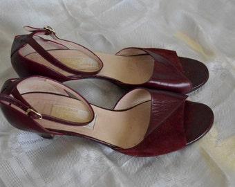 Leather burgundy heeled sandal open toe size 37 1/2