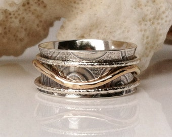 Spinner Ring, Sterling Silver Ring, 14K Gold Ring, Wedding Ring, Meditation Ring, Two Tone Ring
