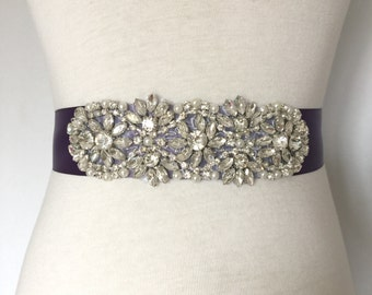 Crystal Sash-Violet Sash-Deep Purple-Bridal Sash-Rhinestone Sash-Wedding Dress Sash-Wedding Gown Belt-Floral Crystal Pearl Applique Sash